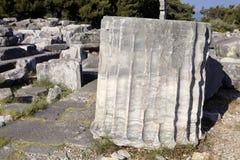 Templo de Priene de las runas hace del siglo IV A M Fotografía de archivo