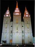 Templo de Salt Lake City del mormón en la noche foto de archivo