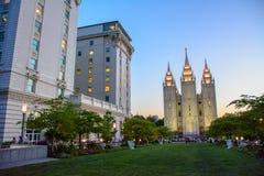 Templo de Salt Lake em Salt Lake City, Utá, EUA fotografia de stock