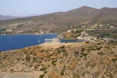 Templo de Sounion del cabo de Grecia de Poseidon fotos de archivo