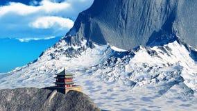 Templo de Sun - capilla budista en la representación de Himalaya 3d Foto de archivo libre de regalías