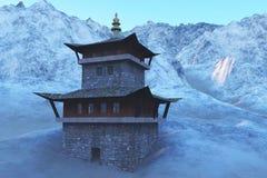 Templo de Sun - capilla budista en la representación de Himalaya 3d Fotos de archivo