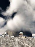 Templo de Sun - santuário budista na rendição dos Himalayas 3d Imagem de Stock
