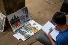 Templo de TA Prohm en Angkor Wat, Camboya fotografía de archivo libre de regalías