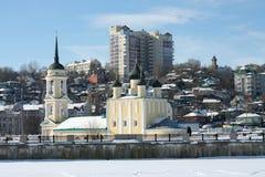 Templo de Uspensky el Ministerio de marina. Invierno Imágenes de archivo libres de regalías