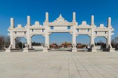 Templo de Wanshou em changchun, arco de pedra Foto de Stock