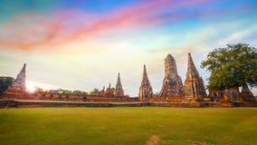 Templo de Wat Chaiwatthanaram em Ayuthay, Tailândia Fotos de Stock Royalty Free