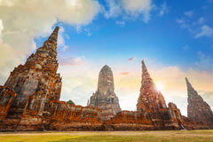 Templo de Wat Chaiwatthanaram em Ayuthaya Fotografia de Stock Royalty Free