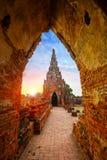 Templo de Wat Chaiwatthanaram en Ayuthaya, Tailandia Fotografía de archivo
