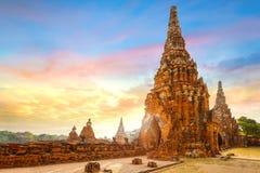Templo de Wat Chaiwatthanaram en el parque histórico de Ayuthaya, Tailandia Fotos de archivo libres de regalías