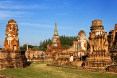 Templo de Wat Mahathat, Ayutthaya Fotos de archivo libres de regalías