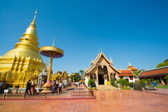 Templo de Wat Phra That Hariphunchai foto de archivo