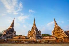 Templo de Wat Phra Si Sanphet en el parque histórico de Ayutthaya, Tailandia Foto de archivo libre de regalías