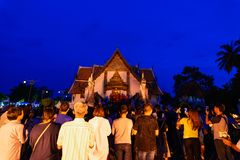 Templo de Wat Phumin en noche Fotografía de archivo libre de regalías