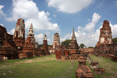 Templo de Wat Prha Mahathat em Ayutthaya Imagens de Stock Royalty Free