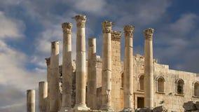 Templo de Zeus, ciudad jordana de Jerash Gerasa de la ciudad de la antigüedad, capital y más grande del Governorate de Jerash, Jo almacen de metraje de vídeo