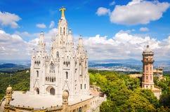 Templo del coraz?n sagrado de Jes?s en Tibidabo en Barcelona fotografía de archivo libre de regalías