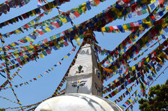 Templo del mono de Swayambhu Swayambhunath Stupa en Katmandu, Nepal Foto de archivo libre de regalías