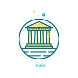 Templo del Parthenon en el icono de la acrópolis Ilustración del Vector