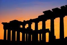 Templo del Parthenon en la puesta del sol Foto de archivo libre de regalías