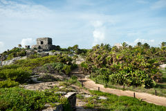 Templo del Viento at Tulum Ruins in  Mexico Royalty Free Stock Photo
