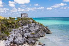 Ruins in Tulum, Mexico. Templo Dios del Viento or God of Winds Temple of the Mayan City of Tulum, in the Yucutan Peninsula in the state of Quintana Roo, Mexico stock photo