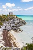 Ruins in Tulum, Mexico. Templo Dios del Viento or God of Winds Temple of the Mayan City of Tulum, in the Yucutan Peninsula in the state of Quintana Roo, Mexico royalty free stock images
