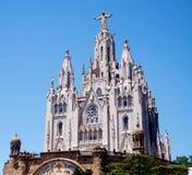 Templo do coração de ardência no monte de Tibidabo em Barcelona imagem de stock