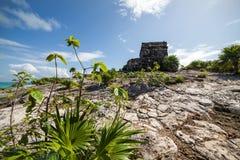 Templo do deus do vento no Tulum em México Imagens de Stock