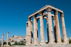 Templo do olímpico Zeus, Atenas Grécia Fotos de Stock Royalty Free