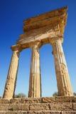 Templo do rodízio e do Pollux de Dioscuri Local do património mundial do Unesco Vale dos templos Agrigento, Sicília, ItalyAgrigen Fotografia de Stock