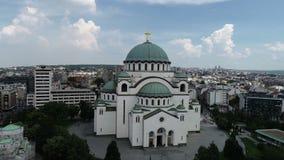 Templo do St Sava, Belgrado, vista aérea filme
