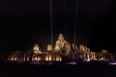 Templo do templo de Bayon na noite Fotos de Stock Royalty Free