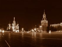 Templo e Kremlin de Vasily abençoado em Moscovo. Imagens de Stock
