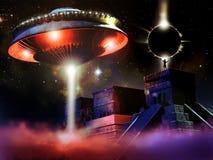 Templo e UFO maias ilustração royalty free