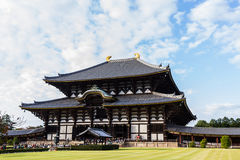 Templo em Nara, a construção de madeira a maior de Todai-ji no worl Imagens de Stock