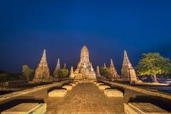 Templo en el crepúsculo, ayutthaya, Tailandia del chaiwatthanaram de Wat foto de archivo libre de regalías