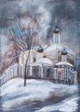 Templo en invierno Fotografía de archivo libre de regalías
