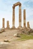 Templo en la ciudadela de Amman, Jordania Imagen de archivo