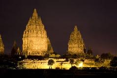 Templo en la noche, Yogyakarta, Indonesia de Prambanan Imagen de archivo