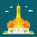 Templo fabuloso do projeto liso de Tailândia ilustração do vetor