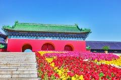 Templo famoso do pagode próximo do céu no Pequim com gramado das flores Imagens de Stock Royalty Free