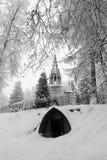 Templo gótico en el invierno Fotos de archivo libres de regalías