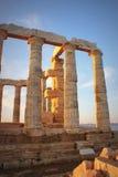 Templo griego de Poseidon Imagen de archivo libre de regalías