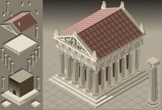Templo griego isométrico (configuración iónica) stock de ilustración