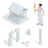 Templo griego isométrico, diosa griega del Aphrodite de la belleza Acrópolis del monumento antiguo de Atenas en Grecia Historieta Ilustración del Vector