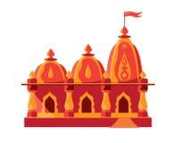 Templo hindú con la bandera aislada libre illustration