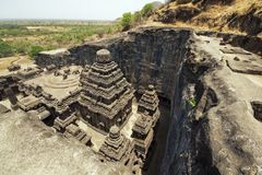 Templo Hindu antigo da rocha Imagem de Stock Royalty Free