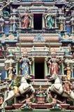 Templo indio con dioses hindúes Imágenes de archivo libres de regalías