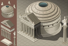 Templo isométrico del panteón en Roman Architecture Imagen de archivo
